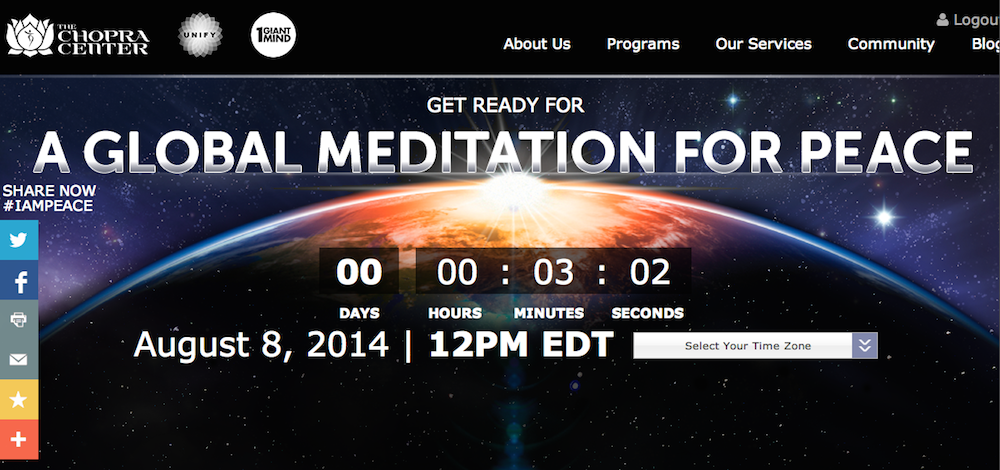 Global Meditation For Peace - Deepak Chopra Gabrielle Bernstein - 8:8:2014