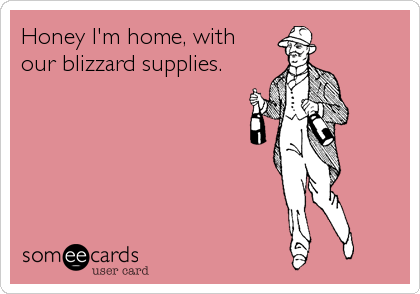 honey i'm home with blizzard supplies
