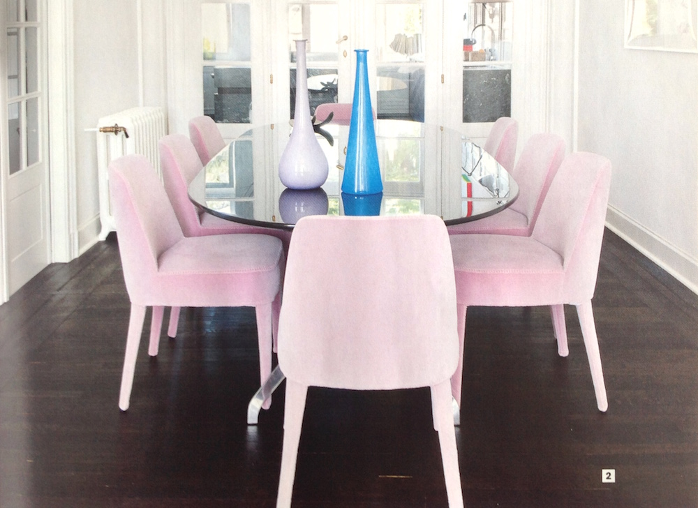 interieur deco chaises febo maxalto velours rose pale Mireille Roobaert