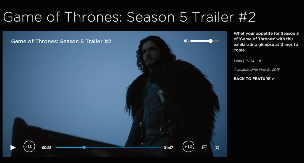 Capture d'écran HBO NOW Game of thrones